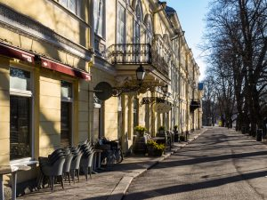Turku, Finland - April 30, 2016: Architecture and shadows in the Center of Turku in Finland